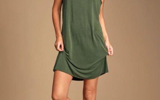 FEELING AMAZING WASHED OLIVE GREEN SLEEVELESS SHIFT DRESS