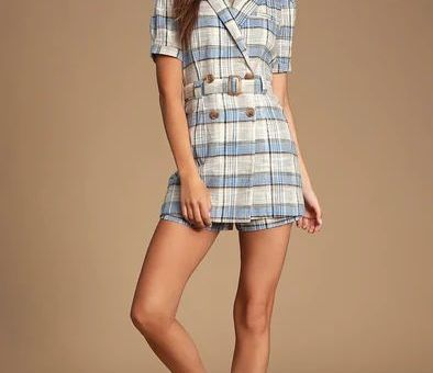 LULAH BLUE PLAID DOUBLE BREASTED COLLARED ROMPER
