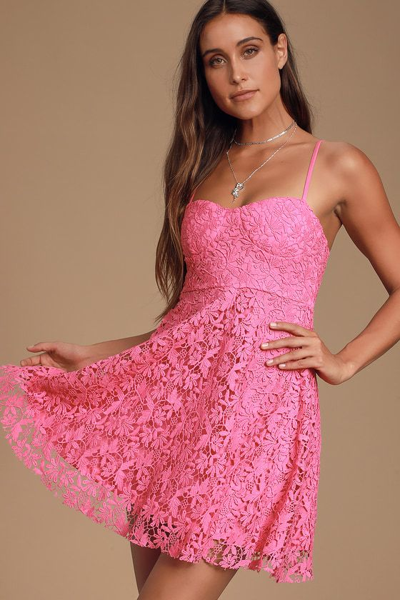 SO INTO YOU HOT PINK CROCHET LACE BUSTIER SKATER DRESS