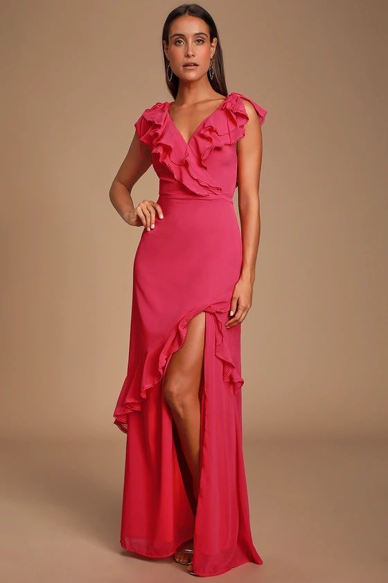 LOVE FROM ABOVE PINK RUFFLED SURPLICE MAXI DRESS