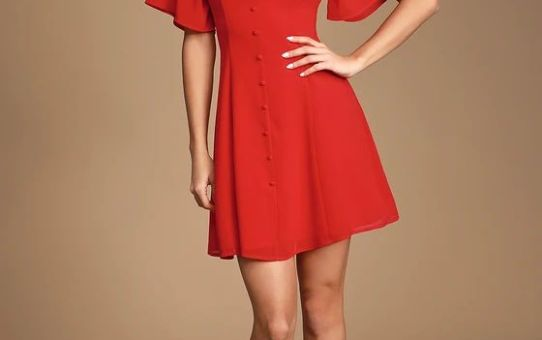 DARCIE RED BUTTON-FRONT SHORT SLEEVE DRESS