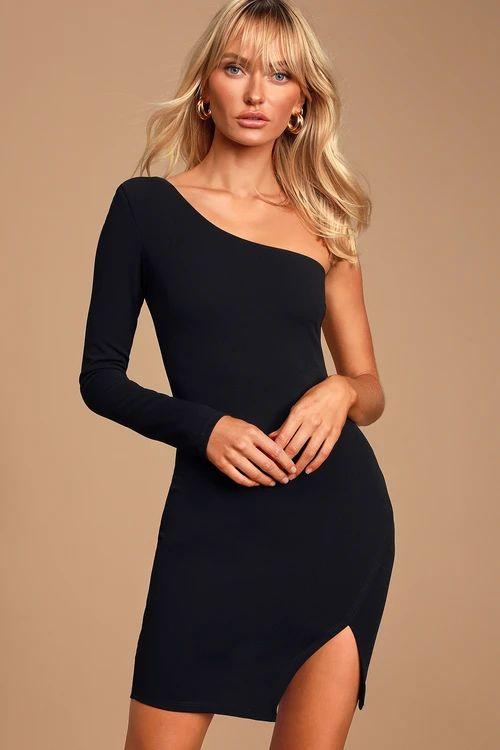 SOLTERA BLACK ONE-SHOULDER BODYCON DRESS