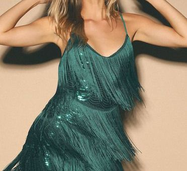 GET IN THE GROOVE EMERALD GREEN SEQUIN FRINGE BODYCON DRESS