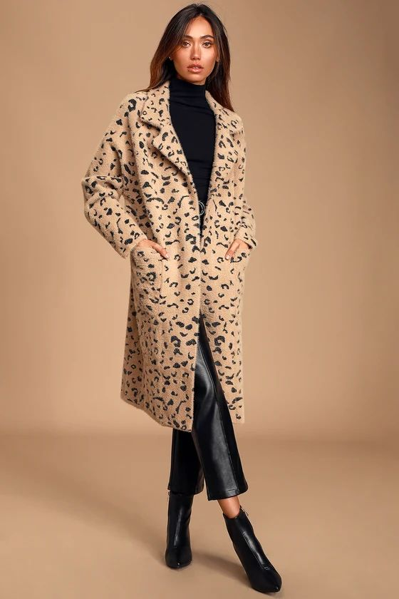 Arta Tan Leopard Print Knit Coat