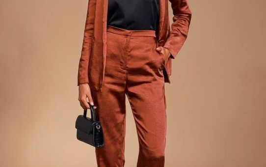 Très Chic Rust Brown Satin Blazer & Rust Brown Trousers