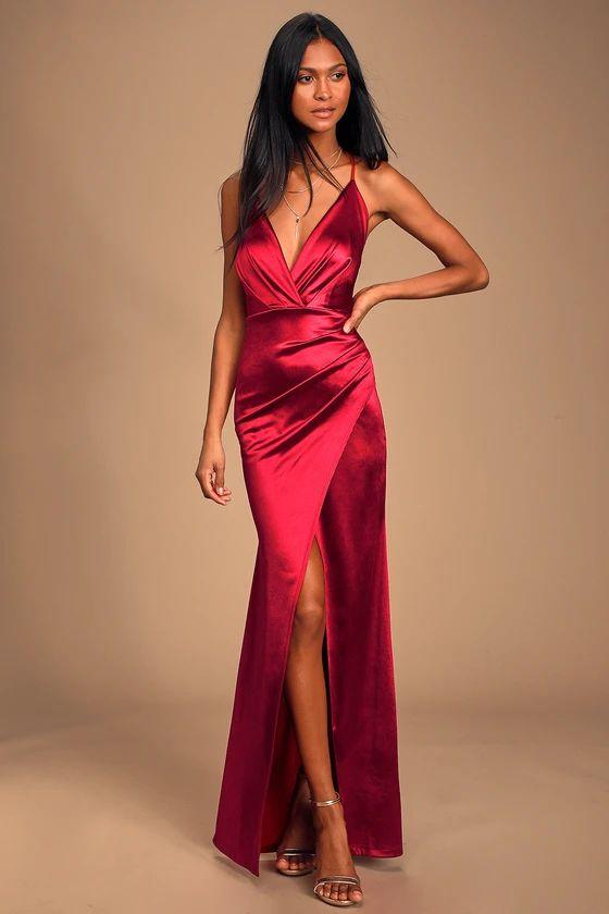 EVER ENCHANTED DARK RED SATIN SURPLICE MAXI DRESS