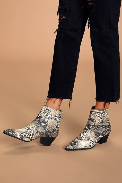 DEACON BEIGE AND BROWN SNAKE PRINT POINTED-TOE ANKLE BOOTIES