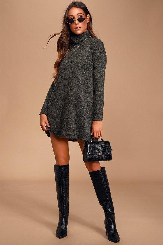 Alaina Dark Olive Green Long Sleeve Turtleneck Sweater Dress