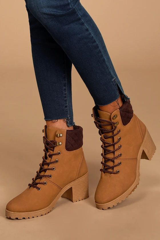 Annella Tan Nubuck Lace-Up Ankle Boots