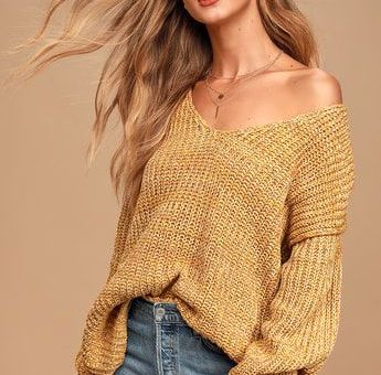 Caring Kisses Mustard Yellow V-Neck Knit Confetti Sweater