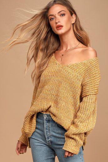 Caring Kisses Mustard Yellow V-Neck Knit Confetti Sweater