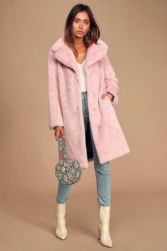 Grand Ambition Light Pink Faux Fur Long Coat