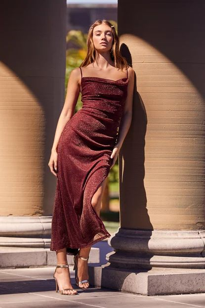 Next Please Gold and Burgundy Cowl Neck Bodycon Dress