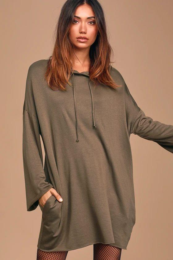 Innocent Crush Olive Green Hooded Sweatshirt Dress