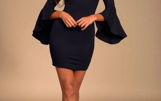 Gimme Some Flair Black Flounce Sleeve Bodycon Dress