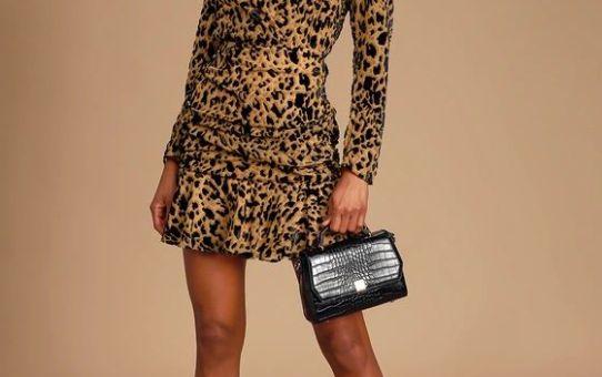 Nikita Burnout Leopard Print Long Sleeve Ruched Mini Dress