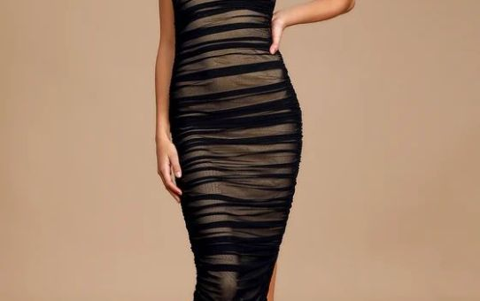 Amazed By You Black Ruched Sleeveless Bodycon Midi Dress