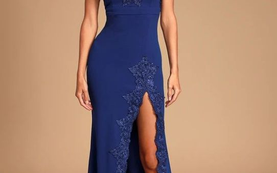 Twyla Royal Blue Embroidered Strapless Maxi Dress
