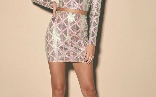 Love Like No Other Pink Iridescent Sequin Long Sleeve Crop Top & Pink Mini Skirt