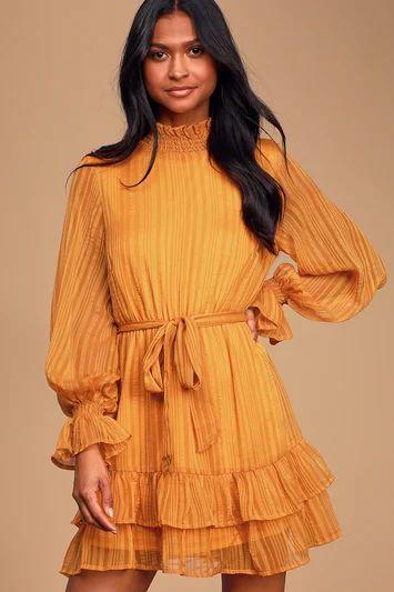 Sweetest Memories Marigold Yellow Ruffled Long Sleeve Dress