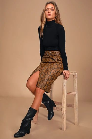 Aces Brown Snake Print Vegan Leather Belted Pencil Skirt