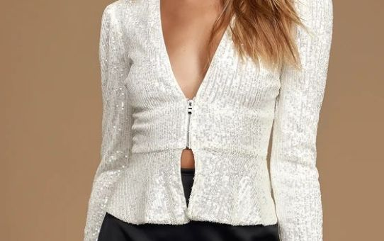 Major Muse White Sequin Long Sleeve Peplum Top