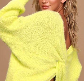 Curl Up Close Chartreuse Eyelash Knit Twist-Back Sweater
