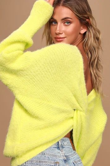 Curl Up Close Chartreuse Eyelash Knit Twist-Back Sweater