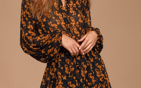 Sashay My Way Black Floral Print Long Sleeve Mini Dress