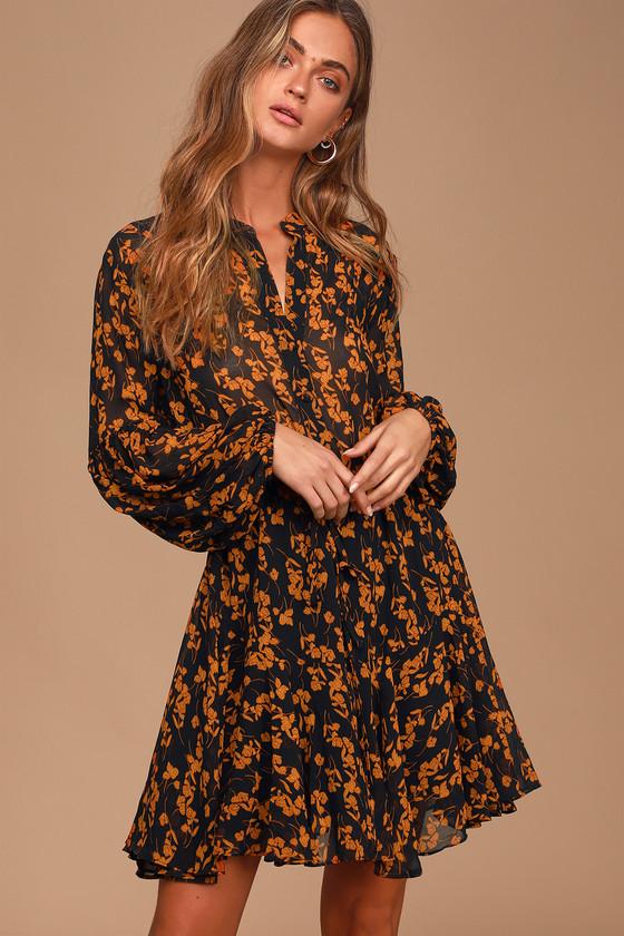 Sashay My Way Black Floral Print Long Sleeve Mini Dress