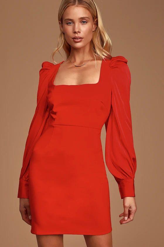 Black Friday Sale- Longtime Crush Red Puff Shoulder Long Sleeve Mini Dress