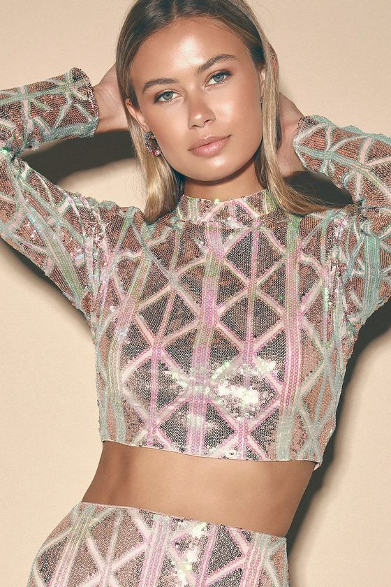 Love Like No Other Pink Iridescent Sequin Long Sleeve Crop Top