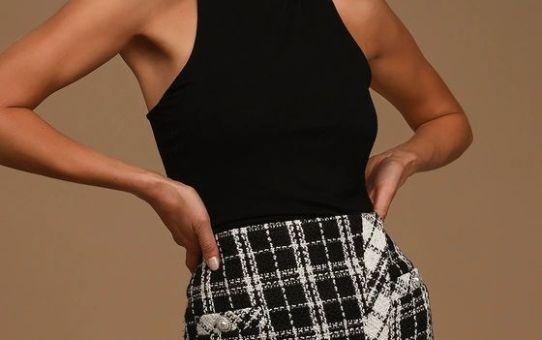 Until I Met You Black and White Tweed Mini Skirt