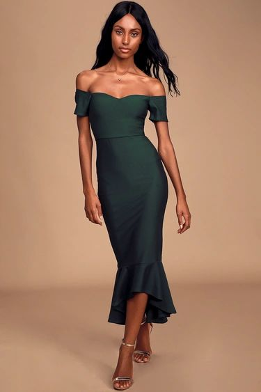 How Much I Care Dark Green Off-the-Shoulder Trumpet Midi Dress