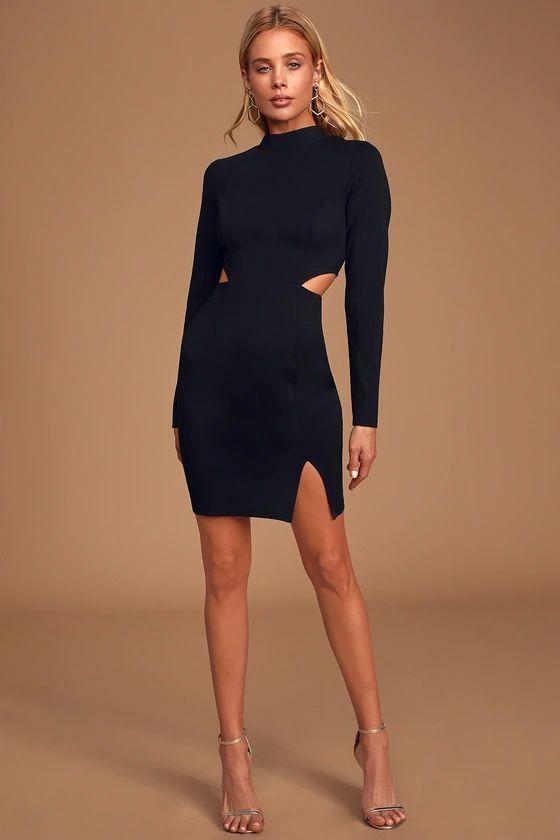 Awestruck Black Long Sleeve Cutout Bodycon Dress