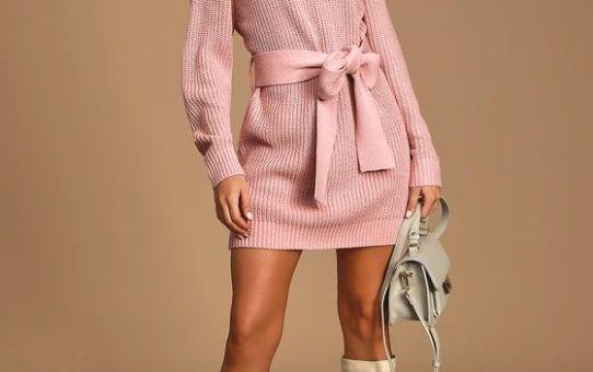 Sweet Demeanor Mauve Pink Turtleneck Cold-Shoulder Sweater Dress