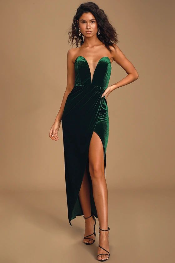 My Dream Come True Forest Green Velvet Strapless Maxi Dress