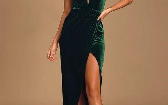 My Dream Come True Forest Green Velvet Strapless Maxi Dress