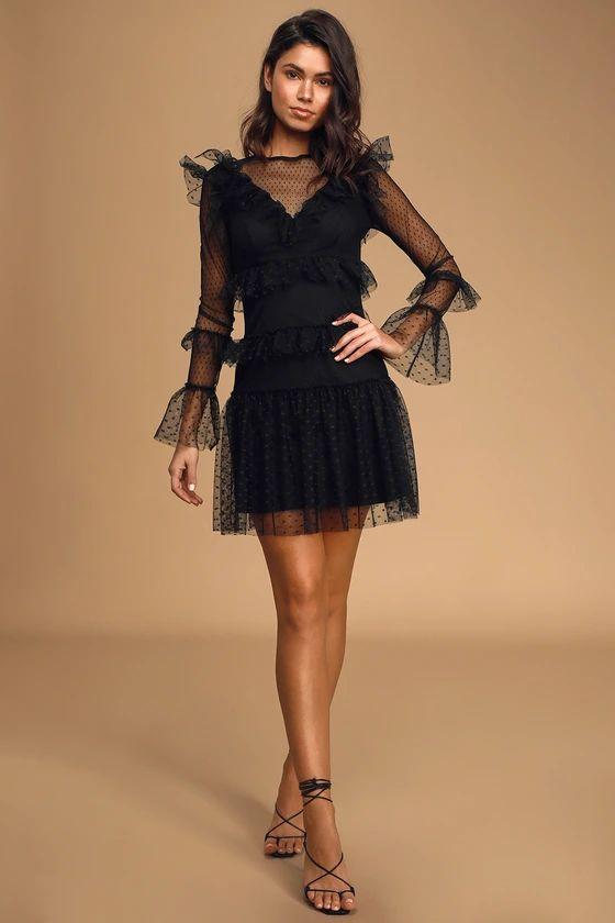 Juliette Black Swiss Dot Mesh Ruffled Long Sleeve Mini Dress