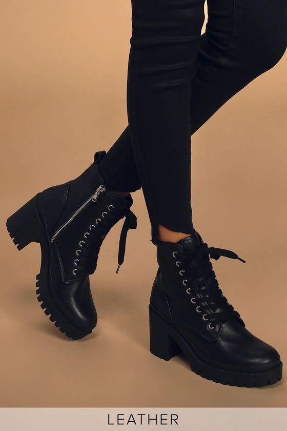Bloomed Black Leather Lace-Up Platform Boots