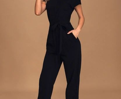 On A Road Trip Black Short Sleeve Jumpsuit