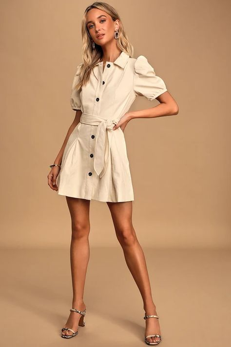 Lelia Cream Vegan Leather Puff Sleeve Button-Front Mini Dress