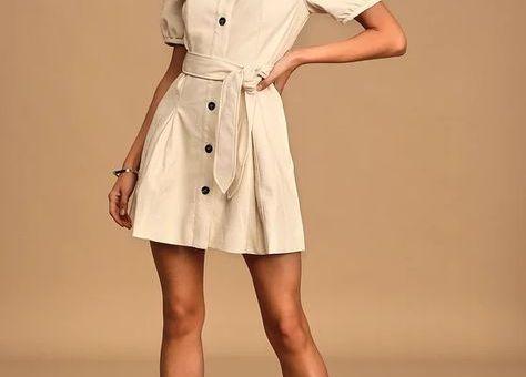 Lelia Cream Vegan Leather Puff Sleeve Button-Front Mini Dress