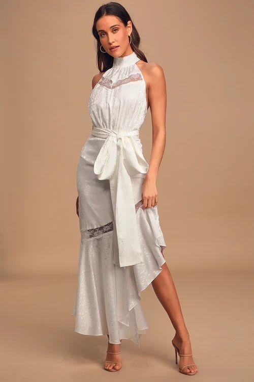 Amorphous White Lace Halter Backless Maxi Dress