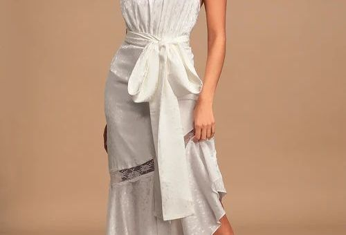 Amorphous White Lace Halter Backless Maxi Dress