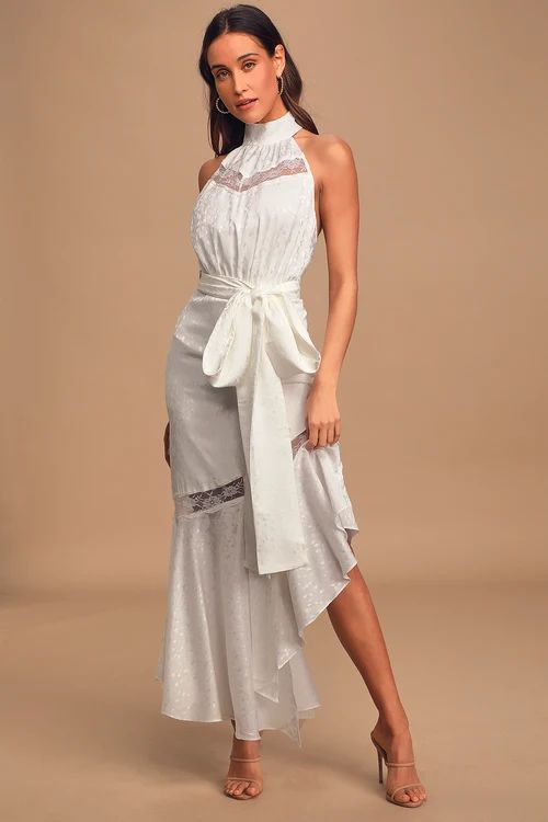 Amorphous White Lace Halter Backless Maxi DressCredit: Lulus.com ©
