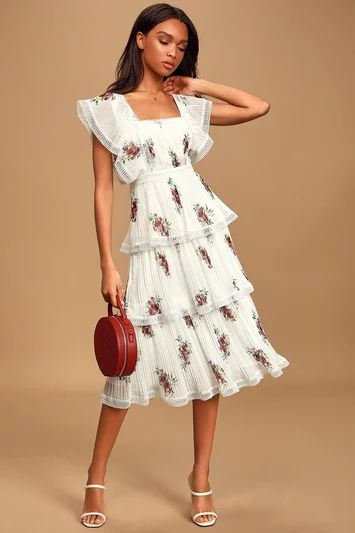 Thriving Romance White Floral Print Tiered Midi Dress