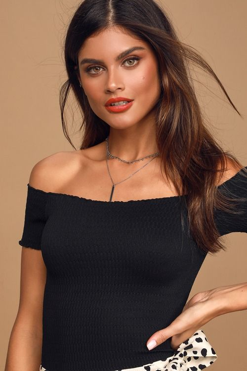 Moulin Ruched Black Smocked Off-The-Shoulder Cami