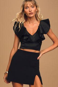 Truly Adored Black Mini Skirt