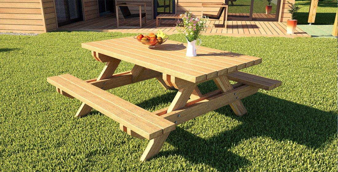 table de jardin en bois en kit bois